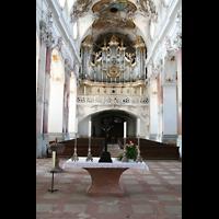 Amorbach, Abteikirche (Fürstliche Kirche), Innenraum / Hauptschiff in Richtung Orgel