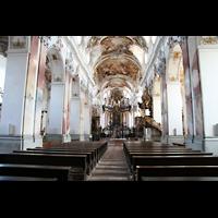 Amorbach, Abteikirche (Fürstliche Kirche), Innenraum / Hauptschiff in Richtung Chor