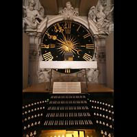 Würzburg, Dom St. Kilian, Spieltisch und Uhr