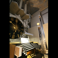 Würzburg, Dom St. Kilian, Spieltisch, Uhr, Pedalturm und Hauptwerk