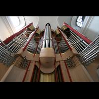 Würzburg, Augustinerkirche, Blick vom Spieltisch auf den Orgelprospekt