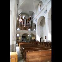 Würzburg, Augustinerkirche, Innenraum / Hauptschiff in Richtung Hauptorgel