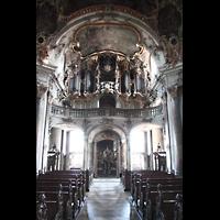 Würzburg, Käppele, Innenraum / Hauptschiff in Richtung Orgel
