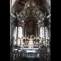 Würzburg, Käppele, Innenraum / Hauptschiff in Richtung Altar