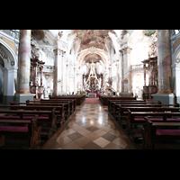 Bad Staffelstein - Vierzehnheiligen, Wallfahrts-Basilika (Hauptorgel), Innenraum / Hauptschiff in Richtung Chor