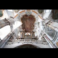 Bad Staffelstein - Vierzehnheiligen, Wallfahrts-Basilika (Hauptorgel), Blick zur Decke mit Orgel