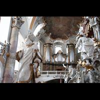 Bad Staffelstein - Vierzehnheiligen, Wallfahrts-Basilika (Hauptorgel), Blick durch den Gnadenaltar zur Orgel