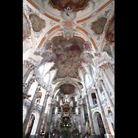 Bad Staffelstein - Vierzehnheiligen, Wallfahrts-Basilika (Hauptorgel), Innenraum / Hauptschiff in Richtung Orgel