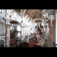 Bad Staffelstein - Vierzehnheiligen, Wallfahrts-Basilika (Hauptorgel), Blick von der Orgelempore in die Kirche