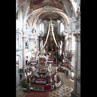 Bad Staffelstein - Vierzehnheiligen, Wallfahrts-Basilika (Hauptorgel), Gnadenaltar und Chorraum