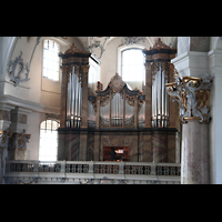 Bad Staffelstein - Vierzehnheiligen, Wallfahrts-Basilika (Hauptorgel), Orgelempore