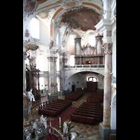 Bad Staffelstein - Vierzehnheiligen, Wallfahrts-Basilika (Hauptorgel), Blick von der Seitenempore zur Orgel