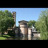 Potsdam, Friedenskirche am Park Sanssouci, Blick vom Friedensteich aus
