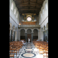 Potsdam, Friedenskirche am Park Sanssouci, Innenraum / Hauptschiff in Richtung Orgel