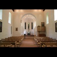 Berlin (Tempelhof), Dorfkirche Marienfelde, Innenraum / Hauptschiff in Richtung Chor