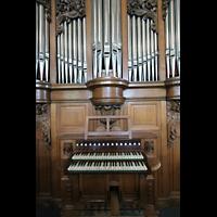 Mainz - Bretzenheim, St. Bernhard, Spieltisch mit Orgel