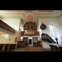 Mühlheim / Eis, Schlosskirche, Innenraum / Hauptschiff in Richtung Orgel