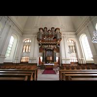 Kirchheimbolanden, St. Paulus, Innenraum / Hauptschiff in Richtung Chor und Orgel