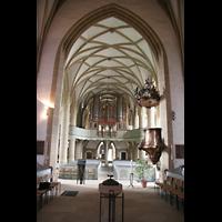 Meisenheim am Glan, Schlosskirche St. Wolfgang, Innenraum / Hauptschiff in Richtung Orgel