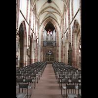 Saarbrücken, Stiftskirche St. Arnual, Innenraum / Hauptschiff in Richtung Orgel