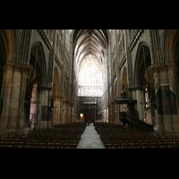 Metz, Cathédrale Saint-Étienne (Langschifforgel), Innenraum / Hauptschiff in Richtung Hauptportal