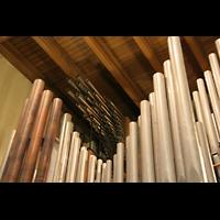 Echternach, Basilika St. Willibrord, Prospektpfeifen und Pfeifen der Trompeteria