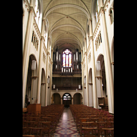 Luxembourg (Luxemburg), Saint-Alphonse (St. Alfons / Paatrekiirch), Innenraum / Hauptschiff in Richtung Orgel