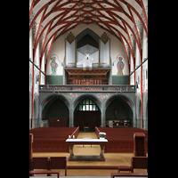 Ulm, St. Georg, Innenraum / Hauptschiff in Richtung Orgel