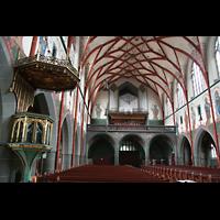 Ulm, St. Georg, Kanzel und Orgel