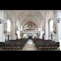 Dachau, St. Jakob, Innenraum / Hauptschiff in Richtung Orgel