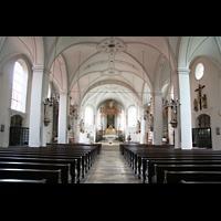 Dachau, St. Jakob, Innenraum / Hauptschiff in Richtung Chor