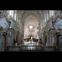 Polling, Stiftskirche St. Salvator und Heilig-Kreuz (Chororgel), Innenraum / Hauptschiff in Richtung Orgel