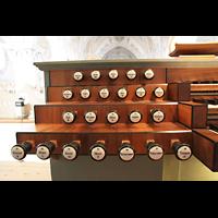 Polling, Stiftskirche St. Salvator und Heilig-Kreuz (Chororgel), Linke Registerstaffel am Spieltisch
