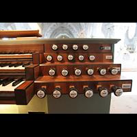 Polling, Stiftskirche St. Salvator und Heilig-Kreuz (Chororgel), Rechte Registerstaffel am Spieltisch