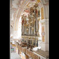 Fürstenfeldbruck, Klosterkirche (Hauptorgel), Blick vom Seitenumgang auf die Orgel