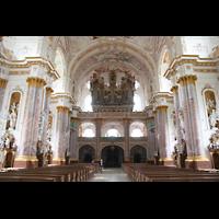 Fürstenfeldbruck, Klosterkirche (Hauptorgel), Innenraum / Hauptschiff in Richtung Orgel
