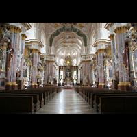 Fürstenfeldbruck, Klosterkirche (Hauptorgel), Innenraum / Hauptschiff in Richtung Chor