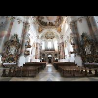 Ottobeuren, Abtei - Basilika (Heilig-Geist-Orgel), Innenraum / Hauptschiff in Richtung Marienorgel