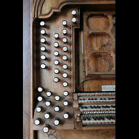 Ottobeuren, Abtei - Basilika (Heilig-Geist-Orgel), Linke Registerstaffel am Spieltisch der Dreifaltigkeitsorgel