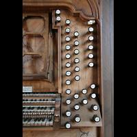 Ottobeuren, Abtei - Basilika (Heilig-Geist-Orgel), Rechte Registerstaffel am Spieltisch der Dreifaltigkeitsorgel