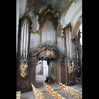 Ottobeuren, Abtei - Basilika (Heilig-Geist-Orgel), Hauptwerk und Spieltisch der Dreifaltigkeitsorgel