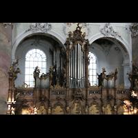 Ottobeuren, Abtei - Basilika (Heilig-Geist-Orgel), Blick von der Empore der Heilig-Geist-Orgel zur Dreifaltigkeitsorgel