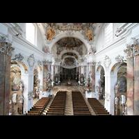 Ottobeuren, Abtei - Basilika (Heilig-Geist-Orgel), Blick von der Empore der Marienorgel in die Kirche