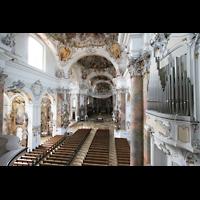 Ottobeuren, Abtei - Basilika (Heilig-Geist-Orgel), Blick von der Orgelempore zur rechten Balkonorgel in die Kirche