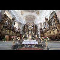 Ottobeuren, Abtei - Basilika (Heilig-Geist-Orgel), Chorraum mit Heilig-Geist- und Dreifaltigkeitsorgel