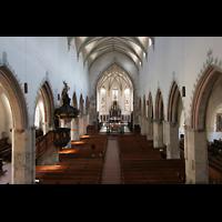 Memmingen, St. Martin, Blick von der Orgelempore in die Kirche