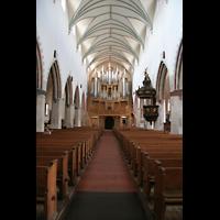 Memmingen, St. Martin, Innenraum / Hauptschiff in Richtung Orgel