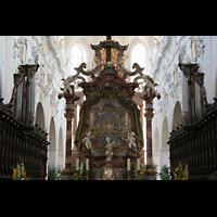 Ochsenhausen, Klosterkirche St. Georg (Hauptorgel), Chorraum mit Chororgel