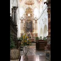 Ochsenhausen, Klosterkirche St. Georg (Hauptorgel), Spieltisch der Chororgel