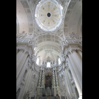 München (Munich), Theatinerkirche St. Katejan, Chorraum mit Orgel und Kuppel